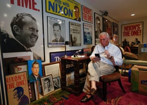 Roger Stone poses in his office in Oakland Park, Florida.