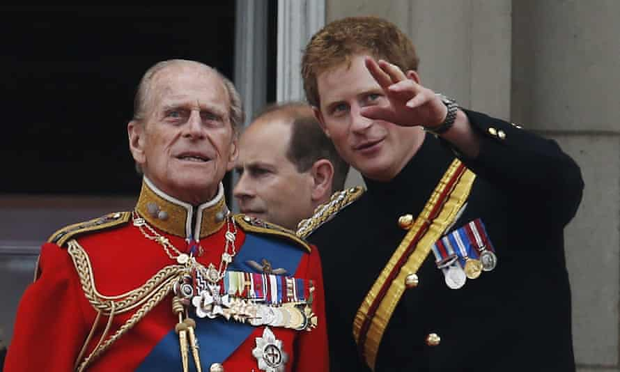 Prince Harry with his grandfather Prince Philip in 2014