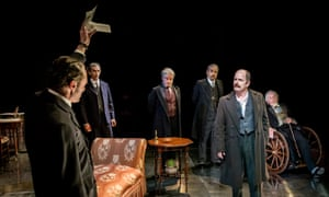 Michael Hodgson, Antony Bunsee, Julian Firth, Madhav Sharma, Ian Hughes and William Gaunt in Strife at the Minerva theatre, Chichester.