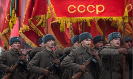 Russian servicemen dressed in second world war uniforms mark Revolution Day on 7 November by helping turn it into a historical parade.