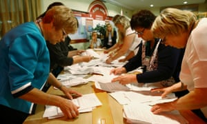 Votes are counted at a polling station in Minsk
