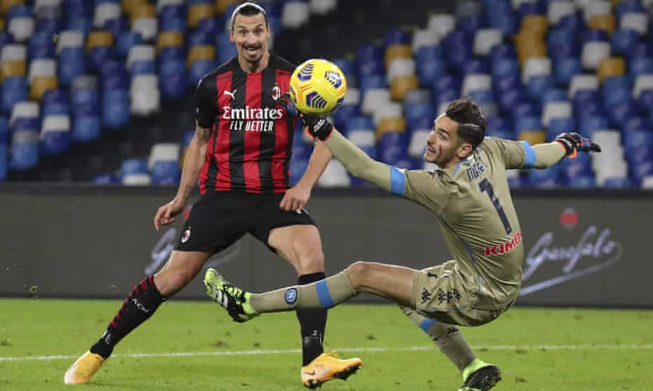 Zlatan Ibrahimovic has now scored 10 league goals after his double at the San Paolo.
