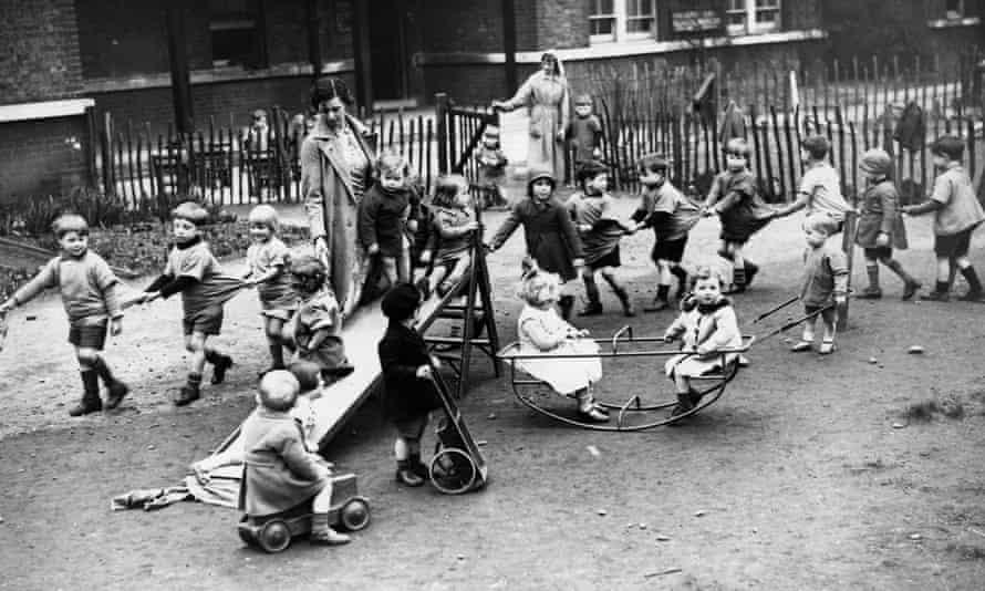 Lead on: nursery school pupils, Bloomsbury, London, 1955.