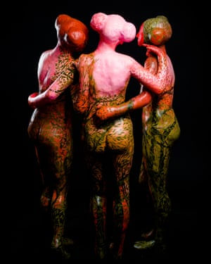 The Three Graces – sculptures for the forest installation by Lisa Wright.