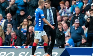 Rangers' Ross McCrorie walks past manager, Steven Gerrard after being sent off.