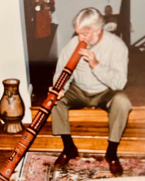 Dr. James Goodrich playing the didgeridoo.