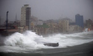 Strong waves brought by Hurricane Irma hit the Malecon seawall in Havana.