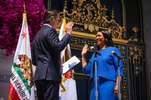 London Breed Sworn In As San Francisco MayorMayor-elect London Breed takes the oath of office outside City Hall July 11, 2018 in San Francisco, California.