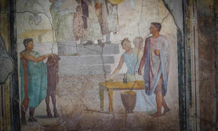 A detail of a fresco in the House of the Golden Cupids.