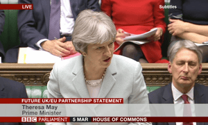 Theresa May giving her Brexit statement in the Commons