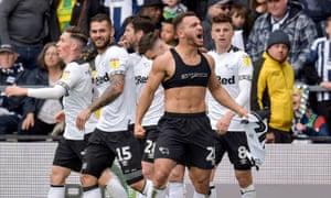 Derby County's Mason Bennett celebrates
