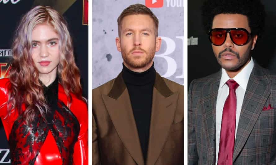 In search of an art-tech utopia ... (L-R) Grimes, Calvin Harris and the Weeknd.