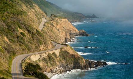 California Highway One winds along the Big Sur coastline.