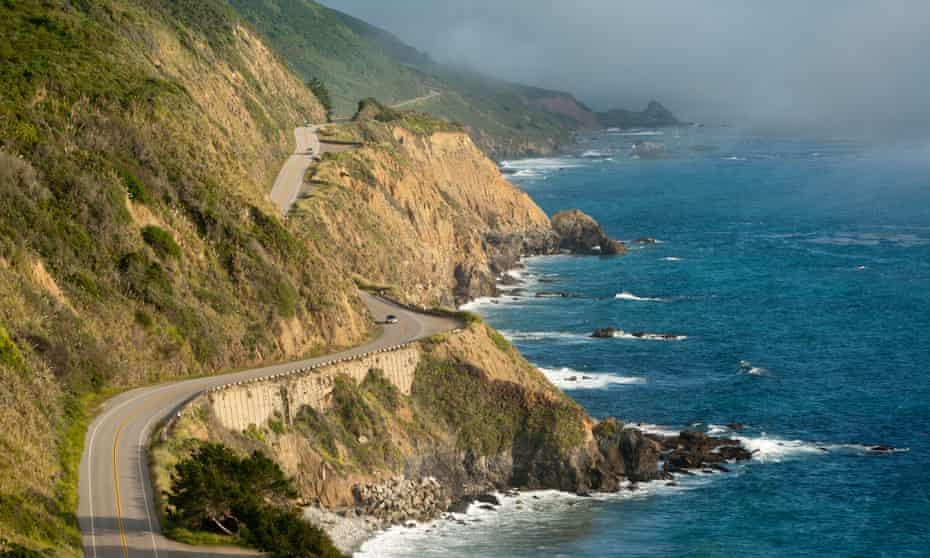 California Highway One winds along the Big Sur coastline.