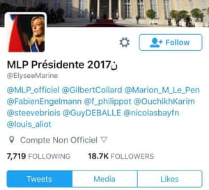 """The Twitter bio of the Le Pen supporter's account is clearly marked """"Compte Non Officiel"""""""