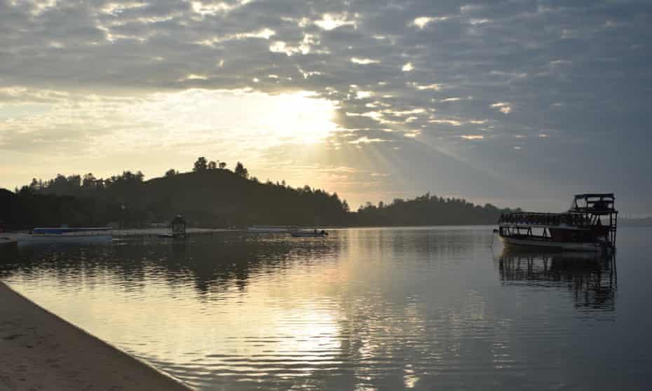 Sunset on Lake Rasoabe, Pangalanes canal, Madagascar.