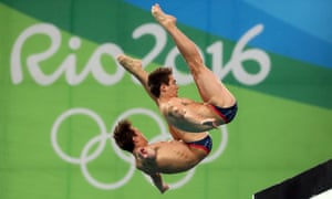Tom Daley and Daniel Goodfellow during the men's 10m platform synchronised diving final
