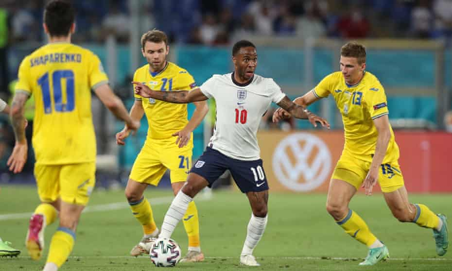 Raheem Sterling keeps the Ukraine defence busy during England's quarter-final win in Rome on Saturday.