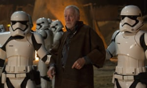 Max von Sydow as Lor San Tekka with First Order Stormtroopers in Star Wars: The Force Awakens, 2015