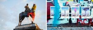 Left: Face of Icarus, Icarus and Daedalus sculpture (1922) by Rebeca Matte, Museo de Bellas Artes, José Miguel de La Barra 650, Santiago, 2019. Right: Time sequence representing the destruction of the Gran Torre Santiago, Avenida Providencia, Santiago, Chile, 2019