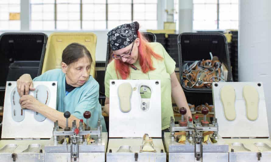 Sandal-makers Cheryl Mueller (on left) and Joanne Copeland at the Salt-Water shoe factory in St Louis, Missouri