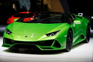 The Lamborghini Huracan Evo Spyder. Capable of more than 200mph, its roof can open in less than 17 seconds at speeds of up to 31mph.