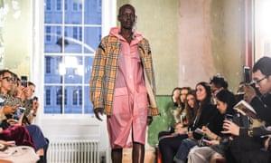 Model wearing Burberry coat