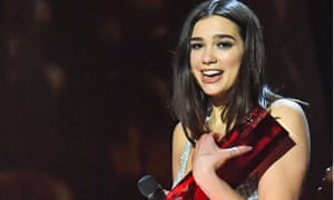 Dua Lipa is awarded best female solo artist at the Brit Awards in London on 21 February.