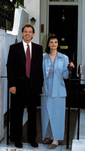 On the up: the Blairs at home after Tony became leader of the Labour party in 1994.