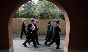Boys make their way to classes at Eton college
