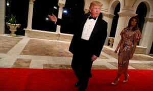 donald trump and the first lady melania trump arrive for a new years eve