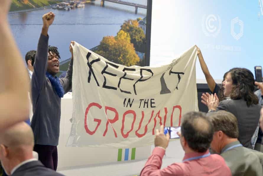 Protesters disrupt US panel with chants of 'Keep it in the ground' and 'Shame on you'.