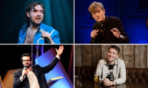 Like having your trousers pulled down in public … clockwise from top left, Nick Helm, James Acaster, Joe Lycett and Marcus Brigstocke