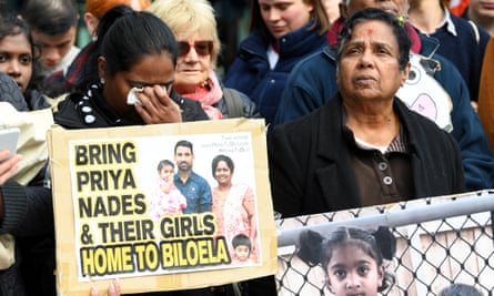 A vigil for the Biloela Tamil family outside the federal court in Melbourne