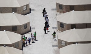 Children and workers at a tent encampment in Tornillo, Texas on 19 June.