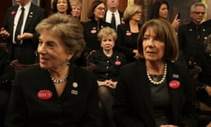 Members of Congress wear black in solidarity with sexual harassment victims at the State of the Union.