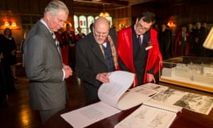 David Watkin, right, with the Prince of Wales and the architect John Simpson at the opening of Simpson's Whittle Building at Peterhouse, Cambridge, in 2015.