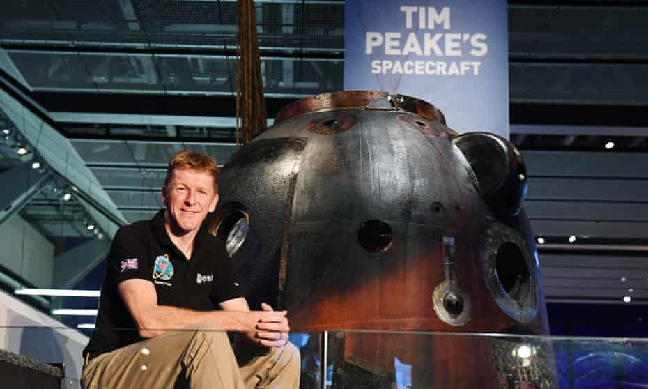 Tim Peake and his spacecraft Soyuz TMA-19M, which is on display at the Science Museum in London.