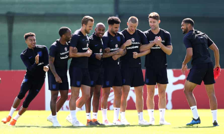 The England squad during a training session in Saint Petersburg, Russia.
