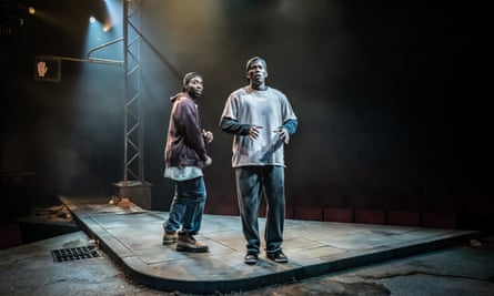 Paapa Essiedu and Gershwyn Eustache Jr in Pass Over at London's Kiln theatre, in February.