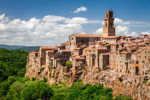 Pitigliano Italian hilltown on the cliff in summer, Italy.
