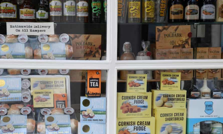 Cornish fudge and other foods on display in a shop window