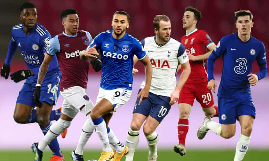 (From left) Leicester, West Ham, Everton, Tottenham, Liverpool and Chelsea have eyes on a top-four place.