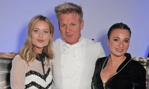 Laura Whitmore, Gordon Ramsay and Gizzi Erskine attend a preview of the new Mayfair restaurant Lucky Cat.
