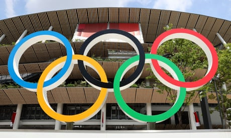 The Olympic rings outside the National Stadium in Tokyo.