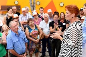 Pauline Hanson speaks to Queenslanders