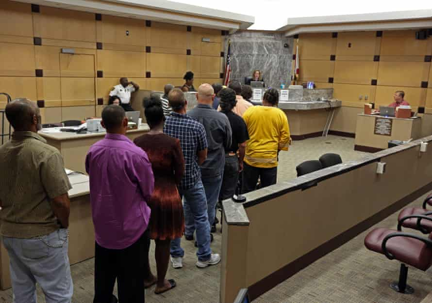 Residents from the House of Hope rehab center appear in court in Fort Lauderdale.
