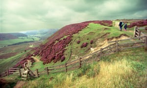 Walking the footpaths in the North York Moors national park near Newton Dale, Yorkshire