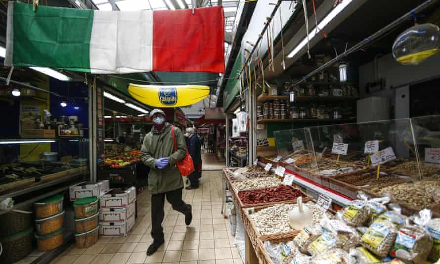 A covered market in Rome on Friday.