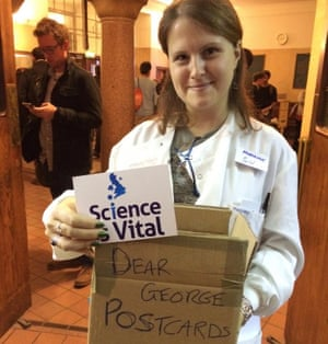 """…but not before Science is Vital's Marianne Baker had collected postcard messages from attendees to George Osborne. <br><br>There is still time for you to support the campaign by sending your message to the Chancellor <a href=""""http://scienceisvital.org.uk/as-vital-as-ever/postcard-to-george-osborne/"""">using this easy online form</a>."""